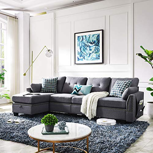 HONBAY Reversible Sectional Sofa Couch L-Shape Sofa Convertible Couch for Living Room 4-seat Sofas Sectional for Apartment Dark Grey