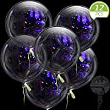 Sumind 12 Pieces Jumbo Bobo Balloons Clear Round Balloons Reusable Transparent Bubble Plastic Balloons for Wedding Birthday Halloween Christmas Party Decoration