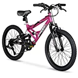 HY Ride on Smooth or Rough Terrain with 20inch Hyper Swift Magenta Girls Bike,with 7-Speed Twist Shifters,Front and Rear Brakes,Excellent Gift for Young Riders Looking for an Adventure