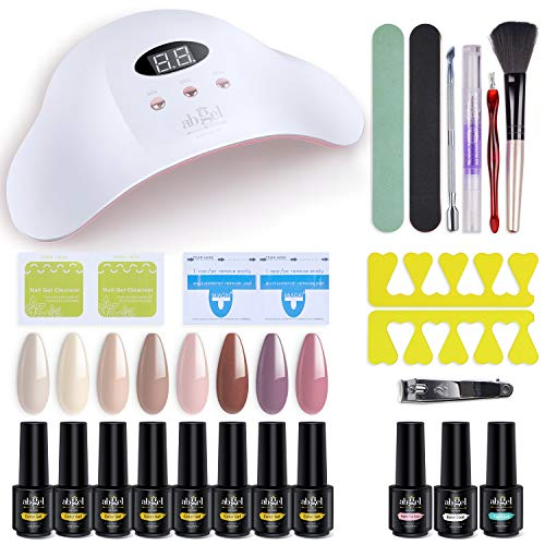 Ab Gel Gel Nail Polish Starter Kit with Nail Dryer Gel Nail Polish Kit with UV light Nude Color Gel with No Wipe Base and Top Coat, Manicure Nail Tools