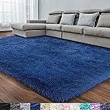Navy Blue Soft Area Rug for Bedroom,4x6.6,Fluffy Rugs,Shag rugs for Living Room,Furry Rugs for Boys Kids Room,Shaggy Rug for Nursery Dorm Room,Non-slip Rug,Navy Blue Carpet,Home Decor, Rectangular Rug