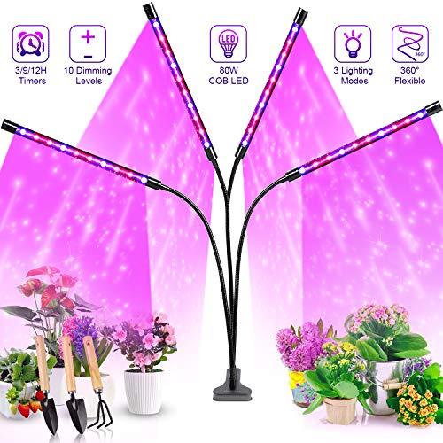 Pflanzenlampe LED, Pflanzenlicht, Pflanzenleuchte 80W Wachsen licht with 40 COB Leds, Wachstumslampe Vollspektrum Wachstumslampe für Zimmerpflanzen mit Zeitschaltuhr, Plant Lights Stufenloses Dimmen.