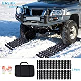 """BASHIK Portable Recovery Traction Mat Tracks for Car/Truck in Mud, Snow, Ice,Sand Emergency Strong Grasping Strength W:10.6"""" X L:39.5"""" 2 Gloves and 1 Bag Attached (2 Pack)"""