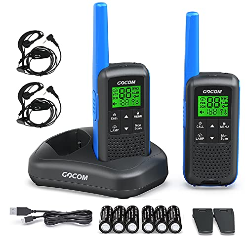 Walkie Talkies - GOCOM G600 FRS Two Way Radio for Adults 2W Long Range Walkie Talkie Rechargeable, VOX Scan, NOAA & Weather Alerts, LED Lamplight 2 Pack Hand held radios