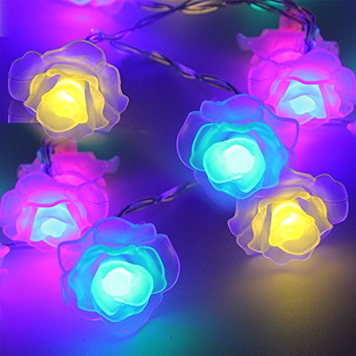 TORCHSTAR 7.3ft 20 LEDs Rose Battery Operated LED Christmas String Light - 2 Work Modes RGBY Flowers Christmas String Lights, Multi-Color Fairy String Lights for Christmas, Holiday, Party