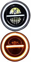 👉Miwings 7 inch Round LED Minus Style Headlight 75W H4 Compatible with Royal Enfield, Jeep, Thar, motorcycle , Cars, Harley Davidson 👉Operating Voltage: 12V-80V, 75W > DOT Approved, INSTALLATION: H4 3 Pin Plug & Play Connector, 2 Wires for White & Am...