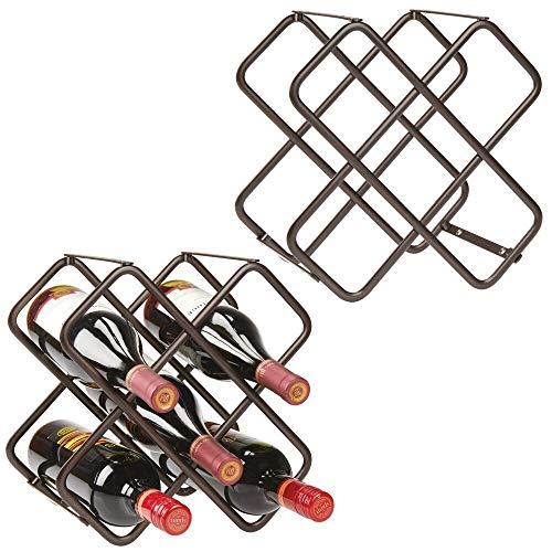 mDesign Set da 2 Portabottiglie in metallo Bellissimo scaffale per bottiglie di vino per 10 bottiglie in totale Organizer in metallo da appoggio per bottiglie di vino e altro bronzo