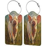 Morning Pig - Juego de etiquetas de piel para maleta, accesorios de viaje, etiquetas para equipaje
