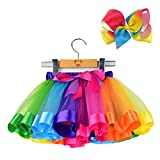 BGFKS Layered Ballet Tulle Rainbow Tutu Skirt for Little Girls Dress Up with Colorful Hair Bows (Rainbow, M,2-4 Age)