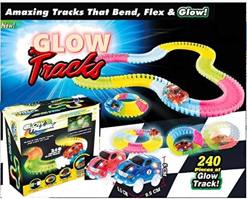 Magic Glow Tracks Race Track 240Piece+2car Dark Racer Bend Flex Roll...