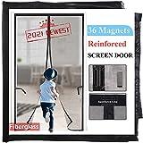 Magnetic Screen Door for Sliding Door/French Door 72x80,2021-Upgraded Version 36 Longer Magnets,Reinforced Fiberglass Retractable Doggy Sliding Door Screen, Black