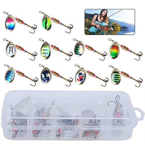Artificiale Pesca Richiamo Set CHEPL 10 Pezzi Kit di Esche da Pesca Metallo Esche da Pesca per Spigola Trota Piedistallo Luccio Rotante Accessori Pesca