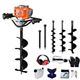PROYAMA Commercial Gas Powered Earth Auger Post Hole Digger 5-Year Warranty for Fence Plants Landscape with Three Drill Bit 4'6'8'+12'20'Extension 54cc 2Cycle 1 or 2 Person Auger