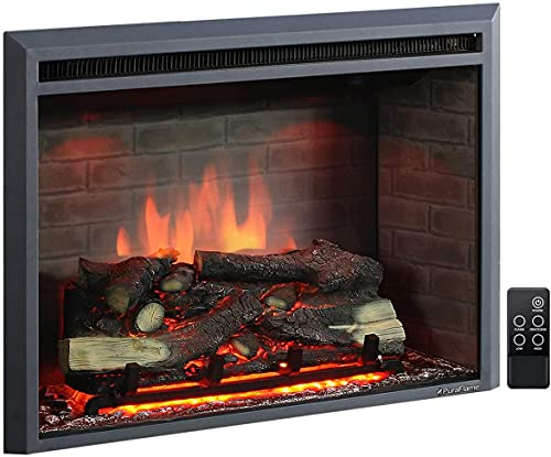 PuraFlame Western Electric Fireplace Insert with Fire Crackling Sound,...