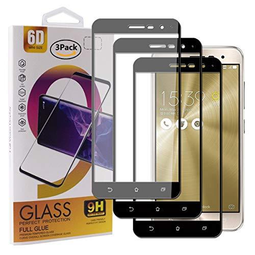Guran [3 Pezzi Pellicola Vetro Temperato per ASUS Zenfone 3 ZE520KL (5.2pollice) Smartphone Copertura Completa 9H Durezza Anti-Impronte HD Pellicola Protettiva - Nero