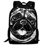 Cute Pug Dog Unique Outdoor Shoulders Bag Fabric Backpack Multipurpose Daypacks for Adult
