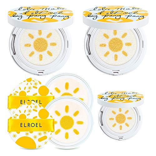 [ELROEL] Korean Sunblock Cushion SPF 50+ PA++++ Value Combo Pack 2 Big Pang Pang Sun Cushions (25g) + 2 Refills + 1 Mini Sun Cushion Korean Sunscreen