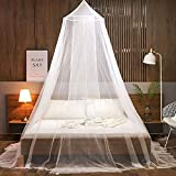 FGen Moustiquaire de Lit B¨¦B¨¦, moustiquaire grand lit, ciel de lit bebe, Facile à Installer, Adapté Pour Lit Bébé, Lit Simple, Lit Double, Blanc