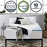 Sleep Innovations 2.5-inch Gel Memory Foam Mattress Topper with 100% Cotton Cover Queen, Made in The USA with a 10-Year Warranty