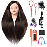 SILKY 26'-28' Long Hair Mannequin Head with 60% Real Hair, Hairdresser Practice Training Head Cosmetology Manikin Doll Head with 9 Tools and Clamp - #4 Brown, Makeup On