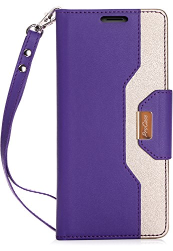 Procase Galaxy Note 8 Wallet Case, Flip Kickstand Case with Card Slots Mirror Wristlet, Folding Stand Protective Cover for Galaxy Note8 2017 -Purple