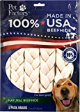 Pet Factory 78701 Beefhide   Dog Chews, 99% Digestive, Rawhides to Keep Dogs Busy While Enjoying, 100% Natural Flavored Braids, Pack of 6 in 7- 8' Size, Made in USA