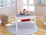 UTEX Enfants 2-in-1 activty Table avec Rangement, Construction de Table pour Les Enfants, garçons, Filles, Blanc
