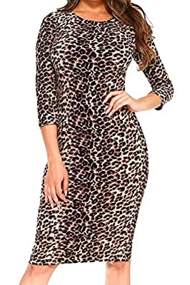 STATEMENT PIECE: Get spotted looking fiercer than ever in this leopard printed dress. Look classy and sexy in a flattering ¾ sleeves crew neck and a midi length silhouette CURVE-HUGGING FIT: Flaunt your curves in this go-to fitted sexy bodycon midi d...