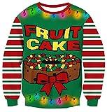Leapparel Men&Women Ugly Christmas Sweater Funny Sweatshirt Long Sleeve Pullover (S, Fruit Cake)