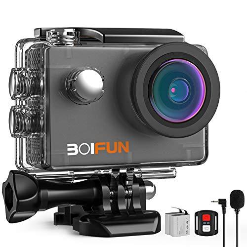 BOIFUN 4K 20MP Action Cam EIS Bildstabilisierte Wi-Fi mit Externem Mikrofon Unterwasserkamera Sport Helmkamera Wasserdicht bis 40 Meter Fernsteuerung und 20 Weiteren Zubehörteilen