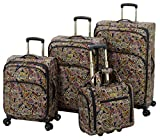 London Fog Cranford 4 Piece Set, Black Gold Plum Paisley