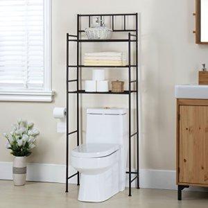 Finnhomy 3 Shelf Bathroom Space Saver Over The Toilet Rack Bathroom Corner Stand Storage Organizer Accessories Bathroom Cabinet Tower Shelf with ORB Finish 23.5' W x 10.5' D x 64.5' H