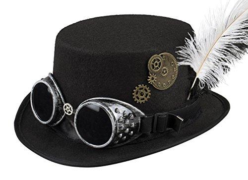 Boland 54502 - Hut Specspunk mit Brille und Zahnrädern, für Damen, Schwarz, Accessoire, Kopfbedeckung, Steampunk, 80er Jahre, Motto Party, Karneval
