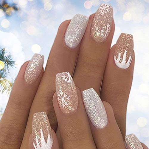 Favelo Bling Fake Nails Coffin Press on Nails Short Acrylic False Nails Tips Party Christmas Nails for Women and Girls (24Pcs)