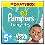 Pampers Baby-Dry Windeln, Gr. 5+, 12kg-17kg, Monatsbox (1 x 132 Windeln)