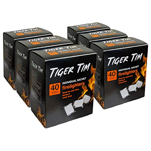 Tiger Tim 240 Sachet Firelighters Mess-Free Safe Odourless Instant Fire Starter for Wood Burners Barbecues Stoves Grills Campfires