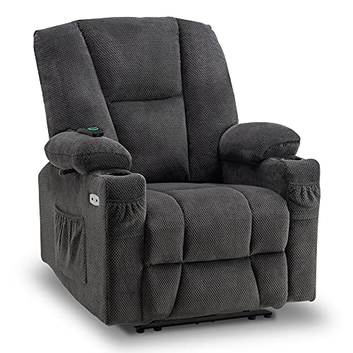 Mcombo Fabric Electric Power Recliner Chair with Heat and Massage, Cup Holders, USB Charge Ports, Extended Footrest, Cloth Powered Reclining for Living Room 8015 (Not Lift Chair) (Grey)