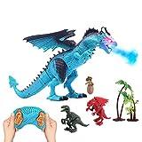 deAO Dinosaure télécommandé pouvant Marcher, rugir, cracher du feu et secouer...