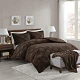 Comfort Spaces Odessa Long Fur Set + Cozy Combo-4 Piece-Snugly Warm and Ultra Soft-Includes 1 Comforter, 2 Shams, 1 Throw-Blanket, King, Chocolate