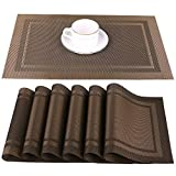 Artand Placemats, Heat-Resistant Placemats Stain Resistant Anti-Skid Washable PVC Table Mats Woven Vinyl Placemats, Set of 6 (Brown)