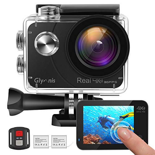 Glymnis Action Cam 4K Ultra HD WiFi con Sony Sensore,Fotocamera Impermeabile 40M con Touch Screen da 2 Pollici EIS Stabilizzazione 170° Grandangolare Time Lapse e 2 Batterie Ricaricabili 1350mAh