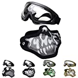 Outgeek Airsoft Half Face Mask Steel Mesh and Goggles Set for Halloween and Xmas(Skull Set)