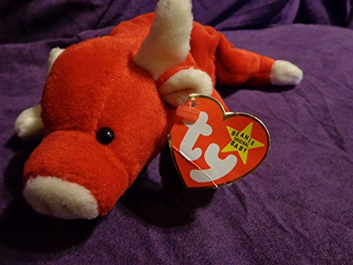 RARE Retired 'Snort the Red Bull' Ty Beanie Babies w/near MINT tags, PVC Pellets, No # Stamp, Errors