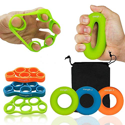 FitnessLife Hand Grip Strengthener Strength Trainer -Finger Stretcher Yoga Multiple Resistances Exerciser Forearm Ring Relieve Arthritis Wrist Pain Carpal Tunnel Therapy Kit Squeezer Workout Muscle