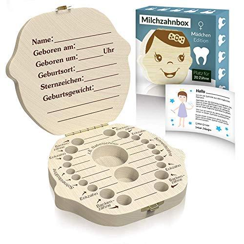 Zrilubkrelz® Zahnbox Zahndose für Kinder aus Holz | inkl. Brief | Deutsche Sprache | 2 Versionen für Junge & Mädchen | Milchzahndose Milchzahnbox für Milchzähne als Geschenk Einschulung Geburt