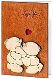 Real Wood Love You Teddy Bears Funny Happy Birthday Greeting Card 5...