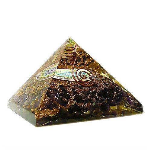 Orgonita en forma de Piramide con Flor de Vida - Ojo de tigre