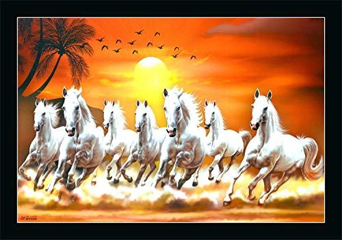 Alura Art N Frames Synthetic 7 Running Horses Vastu Painting, Standard