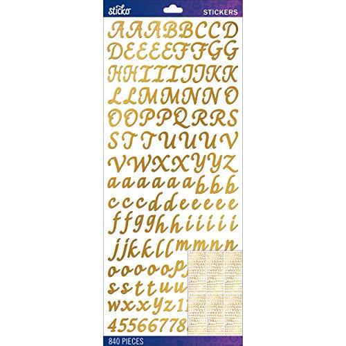 Sticko Alphabet Stickers, Gold Foil Script