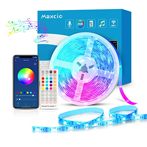 Alexa Striscia LED RGB WiFi, Maxcio 5M Striscia di Luci Led 5050 RGB Compatibile con Alexa Echo e Google Home, Strip Led con Telecomando, Ideale Decorazione per Interni ed Esterni a Natale, Feste